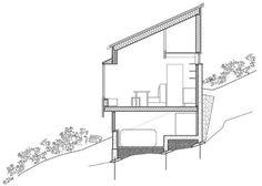 HYTTESNITT: Hytta sett fra siden, tegning ved sivilarkitekt MNAL Margrethe Rosenlund, partner hos MORFEUS arkitekter. Floor Plans, Cabin, Architecture, Google, Arquitetura, Cabins, Cottage, Architecture Design, Wooden Houses