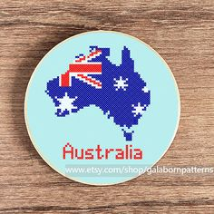 Australia map - PDF counted cross stitch pattern - Patriotic - Flag