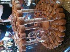 Cork wine glass rack. I wanna make one of these!!