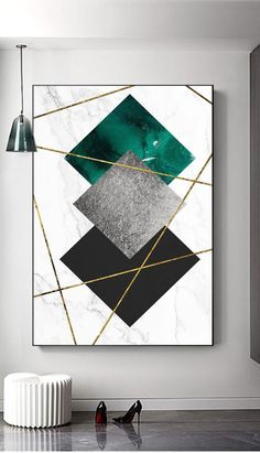 Marble background Gold Line print wall art home decor Geometry Emerald Grey Black office decor #
