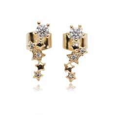 Amazon.com: Star Festival Pave Setting Round Cubic Zirconia Gold Plated Stud Earrings: Jewelry