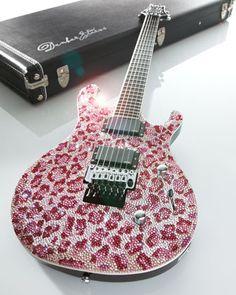 """""""Pink Leopard"""" Art Guitar"""