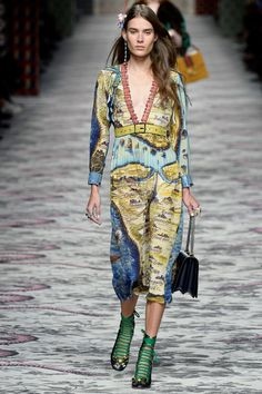 Gucci Spring 2016 Ready-to-Wear Fashion Show  ...that cartoon-sharpie style outlining is FRESH, love the map print too...