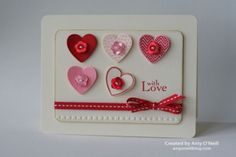 """Stampin' Up! Valentine  by Amy O'Neill at Amy's Paper Crafts"""" five lovely hearts"""