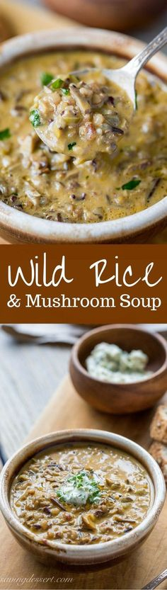 Wild Rice Mushroom Soup with Parsley Butter -Rich, hearty, earthy and comforting - this soup is unique and perfect for the mushroom lover in your house. Cant wait to try this! stuffed_mushrooms_with_cream_cheese, bread crumbs Crockpot Recipes, Soup Recipes, Vegetarian Recipes, Dinner Recipes, Cooking Recipes, Healthy Recipes, Healthy Soup, Rice Recipes, Vegan Recipes