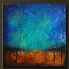 These colors are beautiful!  Sapphire and Sand 6 - Abstract Acrylic Painting - 36 x 36 - Huge Contemporary Wall Art. $525.00, via Etsy.