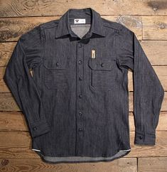 Tellason Clampdown Shirt of 10.5 Oz  White Oak Cone Mills Indigo Raw Denim