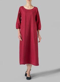 Linen Elbow Sleeve Long Dress