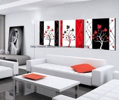 3 piece on sale at reasonable prices, buy Hot Sell 3 Pieces For Gifts New Art Canvas Modern Black White Red For Friend Landscape Kitchen For Living Room Restaurant Ba from mobile site on Aliexpress Now! Three Canvas Painting, 3 Canvas Paintings, Large Wall Paintings, Mural Painting, Triptych Wall Art, Canvas Wall Art, Wall Art Prints, New Living Room, Living Room Decor