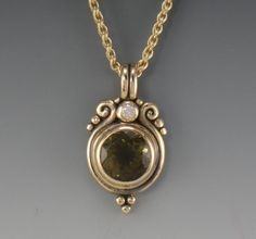14ky Green Tourmaline and Moissanite Pendant- 1 of a Kind