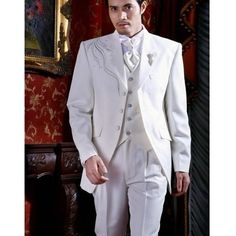 Vintage Wedding Attire for Men | Mens 4 Piece White Vintage Wedding Prom Dress Suits Tuxedos Outfits ...