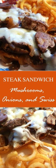 Steak Sandwich with Mushrooms, Onions, and Swiss recipe. Can you say yum! Read Recipe by Steak Sandwich Recipes, Soup And Sandwich, Steak Sandwiches, Big Sandwich, Sandwich Ideas, Great Recipes, Favorite Recipes, Easy Recipes, Amazing Recipes