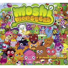 Moshi Monsters Wall Calendar: Virtual pets, social networking, and online gaming make Moshi Monsters one of the most visited kids' sites on the Web. To date, more than 40 million monsters have been adopted!  $14.99  http://calendars.com/Tween/Moshi-Monsters-2013-Wall-Calendar/prod201300005354/?categoryId=cat00145=cat00145#