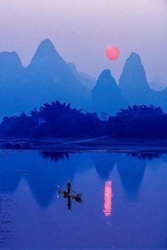 Sunset at Li River via Wildlife & Nature