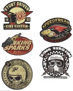 562 King Kerosin Set Speedfreak Aufkleber Sticker Rockabilly Hot-Rod Bobber OEM