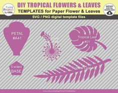 svg Paper Flower Hibiscus Template TROPICAL SET: Hawaiian Jungle Decorations, Diy Party Decorations, Flower Decorations, Flower Svg, Flower Template, Hawaiian Flowers, Tropical Flowers, Paper Flower Backdrop, Paper Flowers