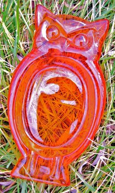 Viking Owl Orange Glass Vintage Ashtray (can find many uses for this in our non-smoking household)
