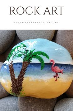 Pebble Painting, Love Painting, Pebble Art, Acrylic Painting Canvas, Strand Thema, Flamingo Painting, Bright Art, Mandala Rocks, Painted Pebbles