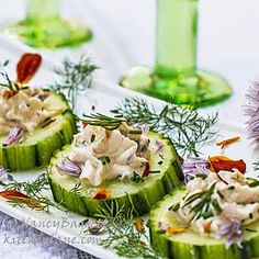 Cool as a cucumber canapes--light, G-F, healthy, refreshing, easy and can make ahead. http://www.kitchenlane.com/2014/06/fancy-schamcy-cool-as-cucumber-canapes.html