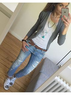 [ VISIT FOR MORE Military green cardigan white t-shirt skinny jeans white tennis shoes camel belt long pendant necklaces The post Military green cardigan white t-shirt skinny jeans white tennis shoes camel appeared first on jeans. Mode Outfits, Jean Outfits, Fall Outfits, Casual Outfits, Fashion Outfits, Outfit Winter, Outfit Summer, Simple Outfits, Fashion Boots