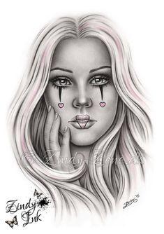 Chicano Tattoos, Lettrage Chicano, Chicano Drawings, Kunst Tattoos, Tattoo Drawings, Art Drawings, Tattoo Pics, Clown Tattoo, Catrina Tattoo