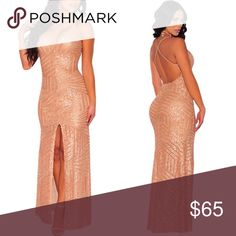 """✨👑 Long rose gold sequined gown 💋✨ Available in Black/nude  as well (check other listing)👑 Beautiful sequined dress with adjustable cross straps. This beautiful dress is perfect for 💋 Prom, Gala, Thanksgiving, Christmas or even New Years.  ✨Model on picture is 5""""5 (for reference)✨ Tobi Dresses Backless"""