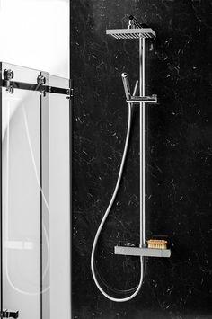 Achterwand voor de douche Lavanto Nuance Marble Noir & Doucheset Lavanto Dado via Dekker Zevenhuizen