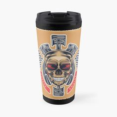 Promote | Redbubble Skull Design, Travel Mug, Mugs, Tableware, Dinnerware, Tumblers, Tablewares, Mug, Dishes