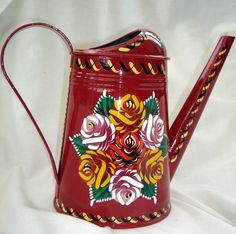 CANAL ART Watering Can #narrowboat #holidays #vacation #boat #trips #canal #trip #bridges #aqueducts #roses #castles