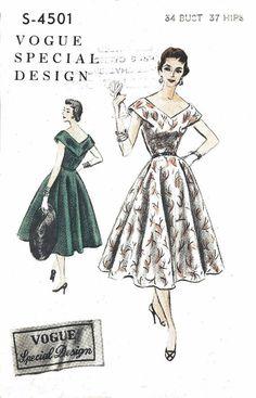 Vintage 1950's Sewing Pattern Vogue V neckline Circle Day