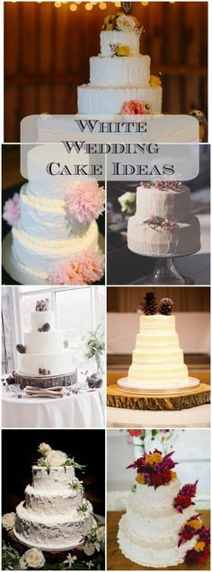 Beautiful gallery of white wedding cakes filled with ideas.
