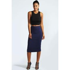Boohoo Basics Mindy Midi Skirt ($10) ❤ liked on Polyvore featuring skirts, navy, high waisted skater skirt, skater skirt, navy blue maxi skirt, floral midi skirt and midi pencil skirt