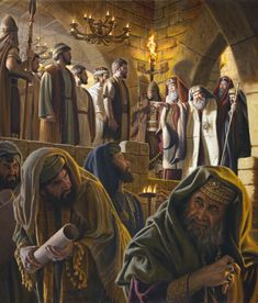 """The apostles stand before a raging Caiaphas. The temple officers are at the disposal of the Sanhedrin to make arrests. """"So they brought them and stood them in the Sanhedrin hall. Images Bible, Bible Pictures, Animated Bible, Jesus Son Of God, Jesus In The Temple, Arte Judaica, Meaningful Pictures, Baroque Painting, Bible Illustrations"""