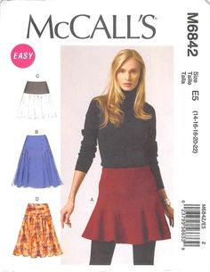 MCCALLS 6842 - FROM 2013 - UNCUT - MISSES SKIRT