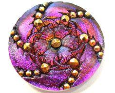 Czech glass button Purple Peony swirl 32mm. by OldeTymeNotions, $6.25