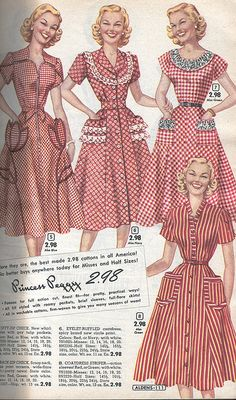 Aldens Catalog Fall Winter 1953-1954 50s color photo print ad models catalogue red white stripes plaid checks dress day house