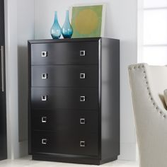 The clean lines and minimalist look of this dark brown Malibu Loft Tall Chest is something I really like.