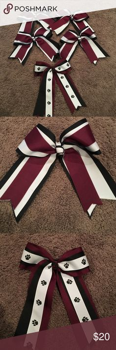 Set of 5 cheer bows Super cute maroon, black and white hair bows. 2 with pony hair toe 2 with clips and one with paw prints and clip. Cute for small group who would like to match. 2 bows with light initials inside - can barely see it. Accessories Hair Accessories