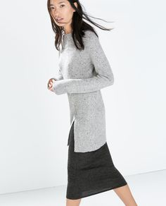 Image 3 of TWEED SWEATER WITH SLIT from Zara