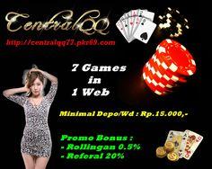 Daftar Poker Online di http://centralqq88.pkr69.com/ Gabung sekarang juga..!!  Menangkan Jackpot-nya hanya dengan Modal Rp.15.000,-  100% Agen Poker Tanpa ROBOT Buktikan Sendiri..!!  Tersedia 7 Games dalam 1 Web : - SAKONG (New Games) - Poker - BandarQ - DominoQQ - AduQ - Capsa Susun - Bandar Poker  Promo : - Bonus Rollingan 0.5% setiap hari - Bonus Refferal 20%