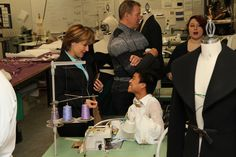 Premier Clark and Chip Wilson visit the Fashion sewing lab and check out their current projects