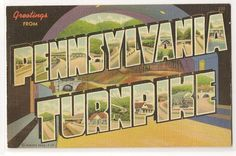 Greetings from... the Pennsylvania Turnpike vintage linen postcard from 1941