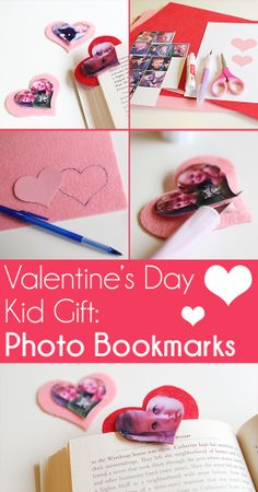 Adorable kids craft. Photo bookmark #ValentinesDay