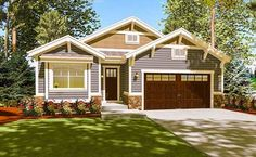 Three gables and a front-facing garage greet you to this bungalow house plan. - House Plans, Home Plan Designs, Floor Plans and Blueprints Garage House Plans, Bungalow House Plans, Craftsman House Plans, New House Plans, Small House Plans, House Floor Plans, Craftsman Homes, Duplex House, Craftsman Bungalows