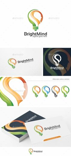 Bright Mind / Idea - Logo Template by putra_purwanto Bright Mind / Idea Logo Re-sizable vector 100 Editable text Easily customizable colors AI & EPS documents For any Letterhead Template, Brochure Template, Flyer Template, Graphic Design Templates, Logo Templates, Lamp Logo, Lighting Logo, Education Logo, Cool Business Cards