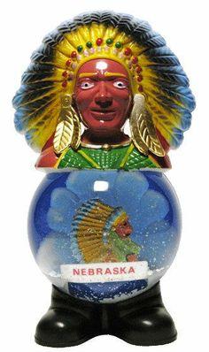 Vintage Snow Globe Souvenir Cigar Store Indian by globalshakeup, $18.95