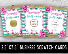 Win Free Stuff, Free Leggings, Scratch Off Cards, Pink Peonies, Business Logo, Note Cards, Stationery, Graphic Design, Birthday