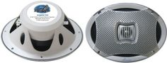 "AQ69CXS LANZAR Marine 6""x 9"" 500 Watt Dual Cone Waterproof Speakers (2-Silver)"