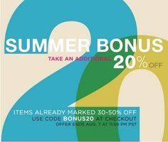 ShopBop is having an amazing Summer Sale, and now through August 7th, you can enter code BONUS20 and get an extra 20% off onitems already marked 30-50% off! Below are just some of the hot jeans y...