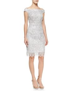 Cap-Sleeve Sequined Lace Sheath Cocktail Dress by Kay Unger New York at Neiman Marcus.